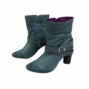 Jump Hailo Turquoise Blue Leather Ankle Booties